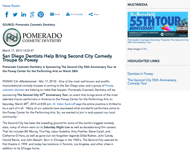 pomerado,cosmetic,dentists,dentistry,san diego,poway,second city,improvisational,comedy,troupe,anniversary,tour,center for the performing arts,dr valeri sacknoff,teeth whitening,porcelain veneers,dental implants